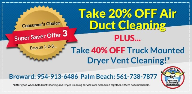 20% Off Air Duct Dryer Vent Cleaning Combo